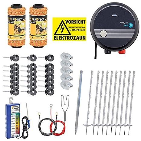 PET Kit Valla eléctrica para Animales pequeños medianos y Grandes, Set Completo 230 V, con Pastor eléctrico: Amazon.es: Jardín