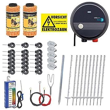 VOSS.PET Kit Valla eléctrica para Animales pequeños medianos y Grandes, Set Completo 230 V, con Pastor eléctrico: Amazon.es: Jardín