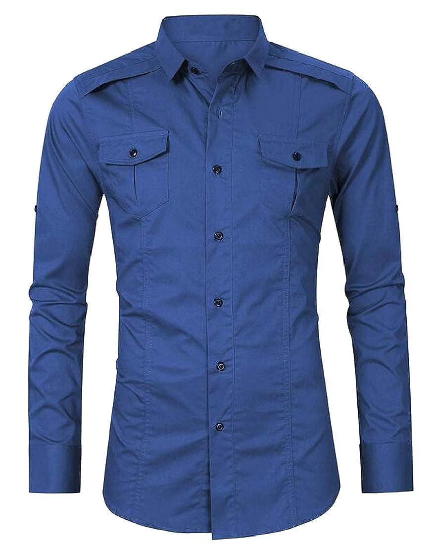 Joe Wenko Men Button Down Long Sleeve Lapel Vogue Big and Tall Shirts