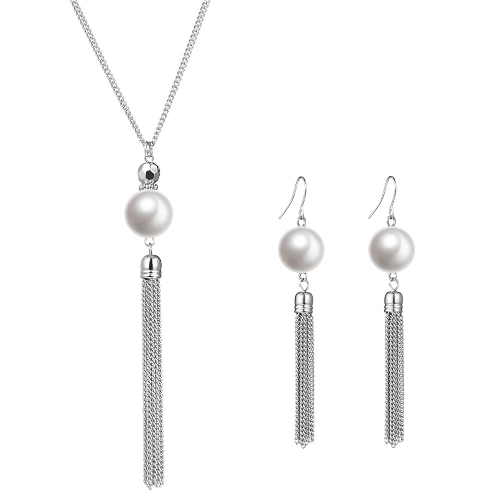 Long Tassel Pearl Jewelry Set - Beaded Dangle Necklace Earrings Fashion Jewelry with Silver Chain, Gifts For Women Girls (White Necklace+Earrings)