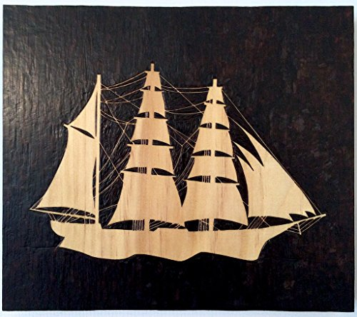 Silhouette of a sailing schooner, woodburning/pyrography wooden wall hanging