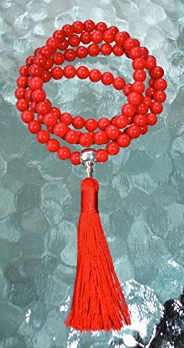 Red coral prayer beads japa mala necklace 6mm handmade 108+1 yoga meditation beads. Buddhist karma rosary for nirvana chanting om awakening chakra kundalini -Free mala pouch included-USA Seller