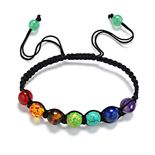 Bangle,Leefi Womens Mens Beaded Bracelets Stone Lava Rock Healing Balance Round Braided Rope Energy Bracelets(7 Chakra)