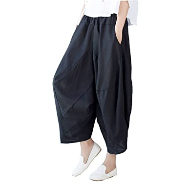 3be5dc84c5566 Elwow Lady's Elastic Waist A Line Drop Crotch Harem Pants Baggy Skirt Style  Trousers with Pockets (Black, One Size): Amazon.co.uk: Clothing