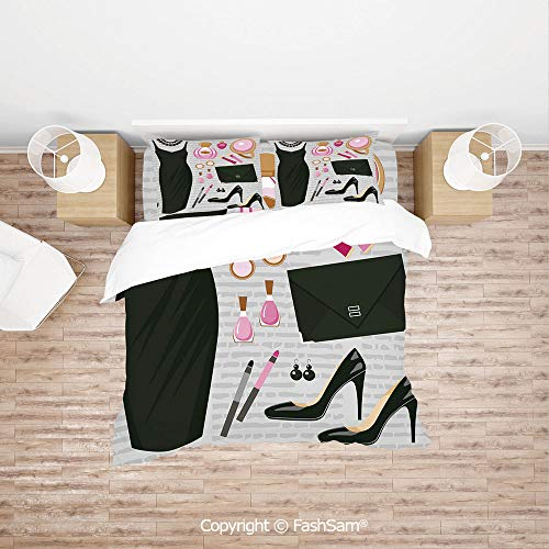 (FashSam Duvet Cover 4 Pcs Comforter Cover Set Black Smart Cocktail Dress Perfume Make Up Clutch Bag for Boys Grils Kids(Single))