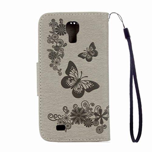 Custodia Samsung I9500 Galaxy S4 Cover Case, Ougger Fiore Farfalla Portafoglio PU Pelle Magnetico Stand Morbido Silicone Flip Bumper Protettivo Gomma Shell Borsa Custodie con Slot per Schede (Grigio)