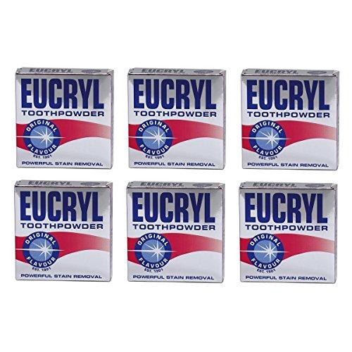 6 x Eucryl Raucher Zahnpulver Original 50g