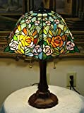 16 Inch Rose Flowers Stained Glass Tiffany Style Table Desk Lamp , Zinc Base