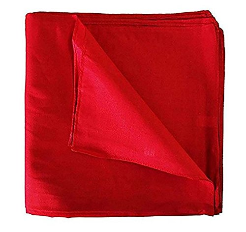 One Dozen 12 pack Solid Red Cowboy Novelty 100% Cotton Bandana Scarf by M.H.I.