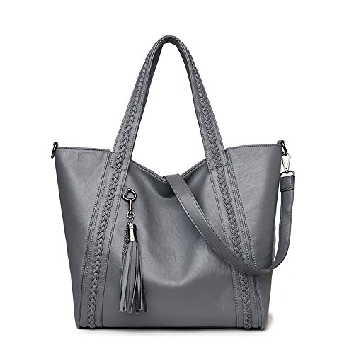 Hobo Large Bag amp;Sue nbsp;Washed Tote Handbag nbsp;Shoulder Leather Mn Grey Braided Satchel Womens Tassel with Soft fBzWq