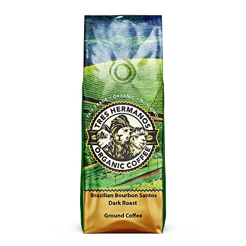 Tres Hermanos Fairtrade Low-Acid Organic Coffee (Brazilian Bourbon Santos Dark Roast Ground, 2 lb)