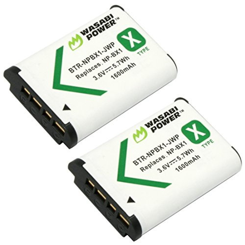 Wasabi Power NP-BX1 Battery (2-Pack) for Sony NP-BX1/M8, Cyber-Shot DSC-HX80, HX90V, HX95, HX99, HX350, RX1, RX1R II, RX100 (II/III/IV/V/VA/VI), FDR-X3000, HDR-AS50, AS300 + More ()