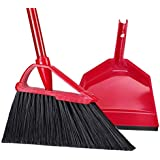 Angle Broom Dustpan Set Rubber Lip Detachable Hand Broom Indoor Outdoor Floor Sweeper Lobby Kitchen Patio Garden Garage Shop Hair Salon