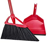 Angle Broom Dustpan Set Rubber Lip Detachable Hand Broom Indoor Outdoor Floor Sweeper Lobby Kitchen Patio Garden Garage Shop Hair Salon