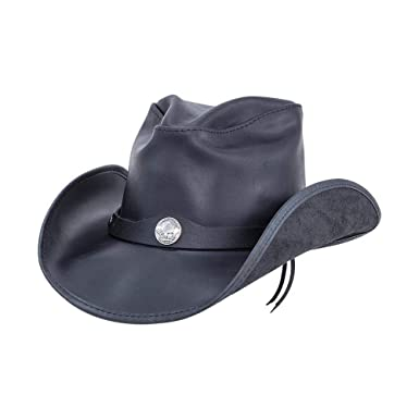 4bde4871724857 American Hat Makers Western by Freedom Hats Leather Fedora, Black Freedom -  Small