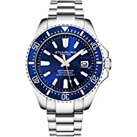 Stuhrling Original Blue Watches for Men - Pro Diver Sports Watch with Screw Down Crown for 330 Ft. of Water Resistance - Analog Dial, Quartz Movement - Depthmaster Mens Watches Collection