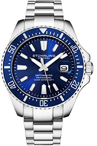 Stuhrling Original Blue Watches for Men - Pro Diver Watch - Sports Watch for Men with Screw Down Crown for 330 Ft. of Water Resistance - Analog Dial, Quartz Movement - Silver Zodiac Bands