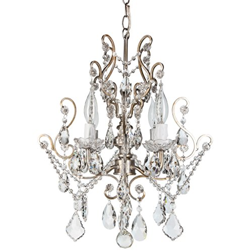 Amalfi Decor 4 Light LED Crystal Beaded Chandelier, Mini Wrought Iron K9 Glass Pendant Light Fixture Vintage Nursery Kids Room Dimmable Plug in Hanging Ceiling Lamp, Silver