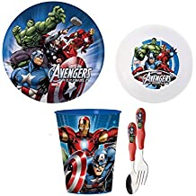 Zak! Designs Mealtime Set with Plate, Bowl, Fork, Spoon, and Tumbler featuring Avengers Assemble Graphics, Break-resistant and BPA-free plastic, 5 Piece Set