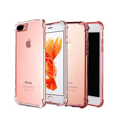 [2 Pack] iPhone 7/8 Plus Case CaseHQ Premium TPU Ultra Slim Anti-scratch Flexible TPU Bumper Cover Extreme Lightweight Thin Gel TPU (Clear+RoseGold iPhone 7/8 Plus - Chanel Lenses