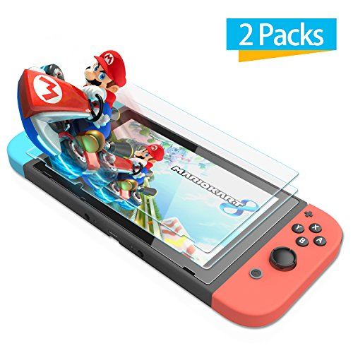 [2 Pack] Nintendo Switch Screen Protector Glass- iXCC 0.3mm Premium High Definition