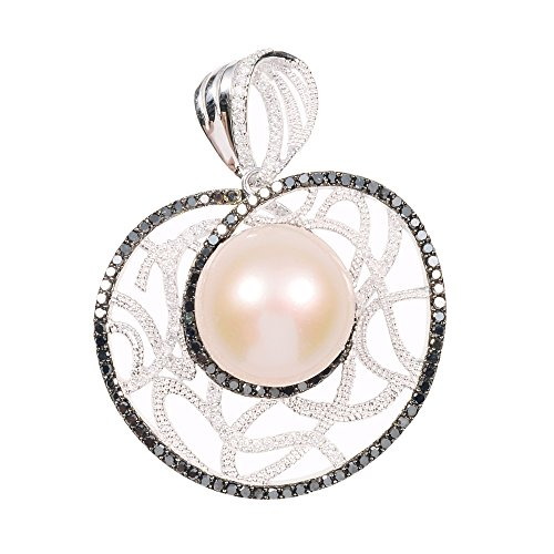 D'sire 18K White Gold Diamond Cultured Freshwater Pearl Pendant ONLY TDW 0.906 ct