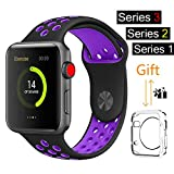 For Apple Watch Band, MOOLLY Soft Silicone Replacement iWatch Band Sport Wrist Strap for Apple Watch Band Series 3 Series 2 Series 1 Sport& Edition 38mm (LK38MM-Black/Purple)