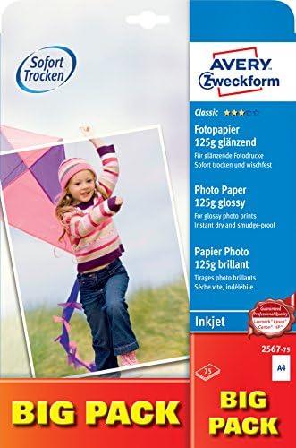 AVERY Zweckform 2567-75 Classic Inkjet Fotopapier (A4, einseitig beschichtet, glänzend, 125 g/m²) 75 Blatt