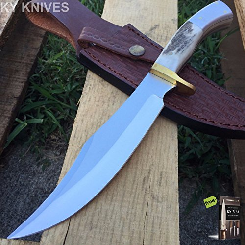GENUINE STAG BONE Steel Wolf Bowie Hunting Knife Leather Sheath Tactical 203319 + Free eBook by SURVIVAL STEEL - Genuine Stag Leather Sheath