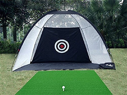 77tech 10′ Golf Practice Hittting Net Cage System Tri-ball Driving Netting Training Aid with Target