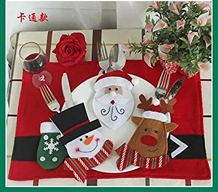 4PCS Christmas Gloves Cutlery Holders Set Dinner Party Xmas Table Decor