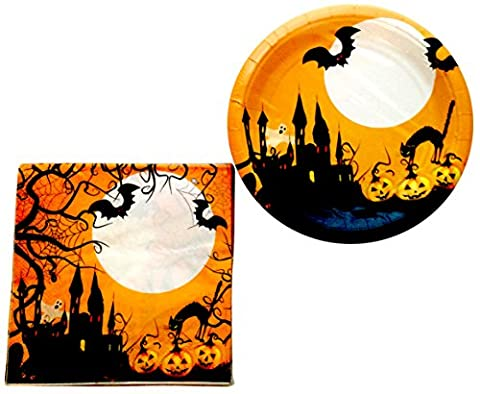 Halloween Party Plates and Napkins - Cute October 31st Party Supplies Pack - Serves 16 - Trick or Treat (Horse Tooth Necklace)