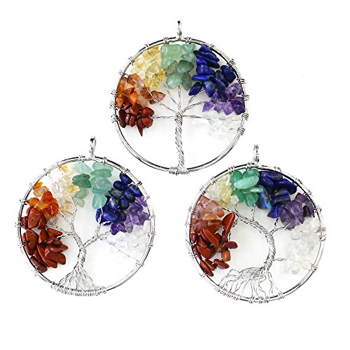 Wholesale Handmade Wire 7 Chakra Crystal Tree of Life Pendants Healing Reiki Charms Bulk for Jewelry Making(1.7  Diameter,3PCS)