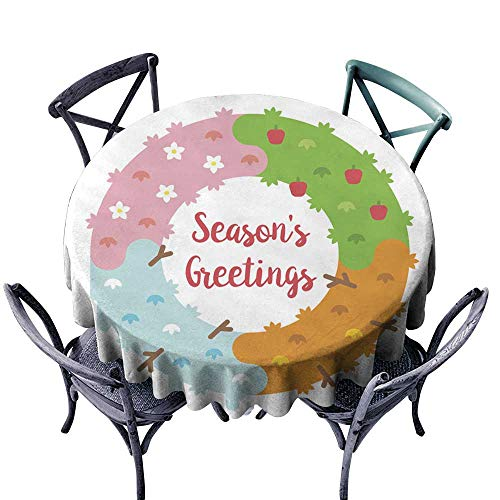 (Onefzc Round Outdoor Tablecloth Flat Design Season s Greetings Card with Wreath Table Cover for Kitchen Dinning Tabletop Decoratio 63