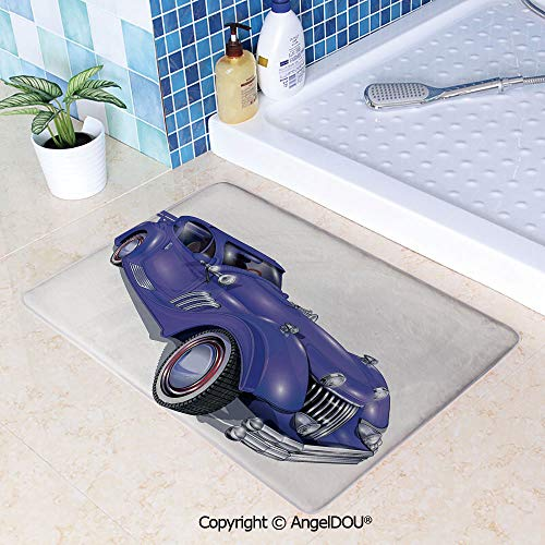 SCOXIXI Printed Non Slip Entry Door Mat Bathroom Carpet Custom Vehicle with Aerodynamic Design for High Speeds Cool Wheels Hood Spoilers Decorative Area Rugs for Dining Room Livin W31.5xL47.2(inch)