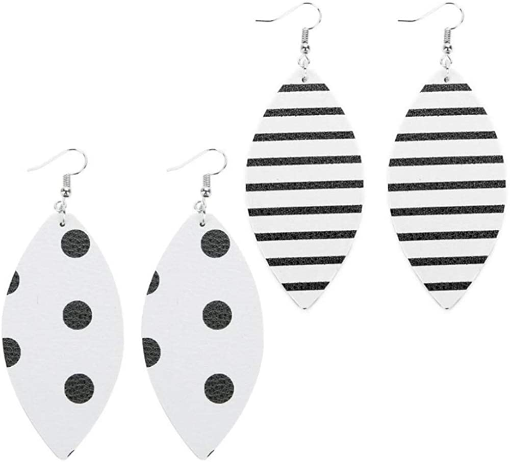 Black and White Double-Sided Faux Leather Dangle Earrings
