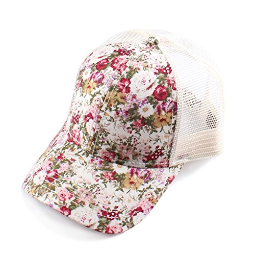 - H-6140-100625 Floral Print Trucker Hat - Small Flower (Ivory)