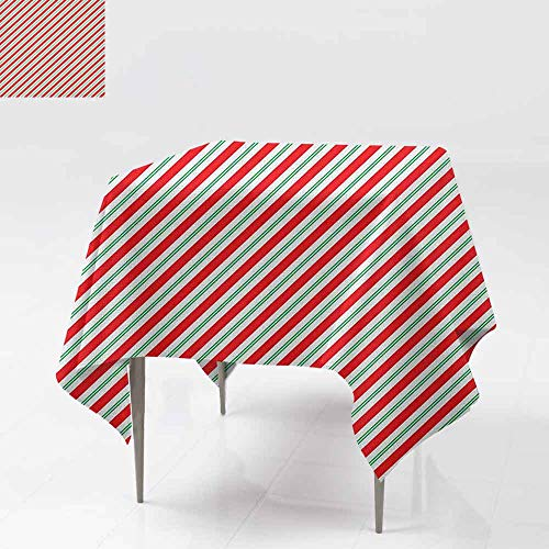 AndyTours Stain Square Tablecloth,Candy Cane,Bicolor Stripes and Lines Festive Traditional Design Seasonal Pattern,High-end Durable Creative Home,60x60 Inch Red Fern Green - Stripe Mouse Cane Candy