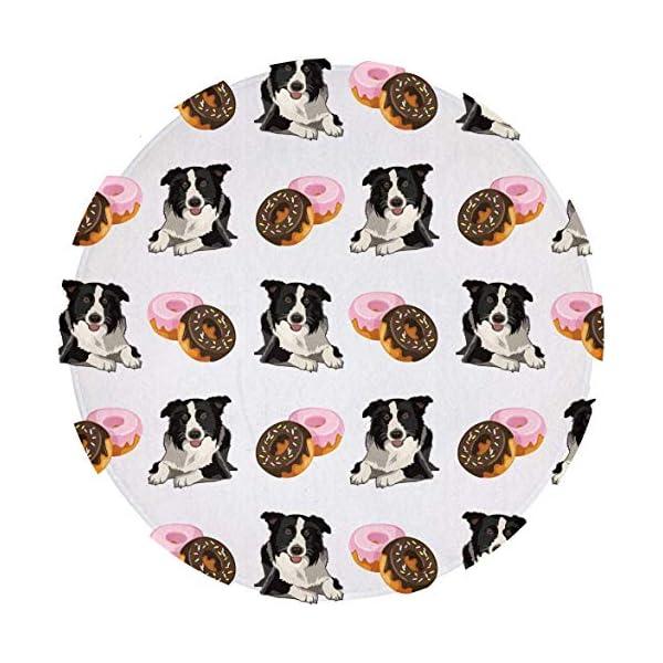 GaryLittl Anti-Slip Circle/Round Floor Mat Border Collie Donuts Doormats - Machine Washable Kitchen Office Soft Flannel Playmat, Bedroom/Living Room/Bathroom Fashion Home Decor Rug 1