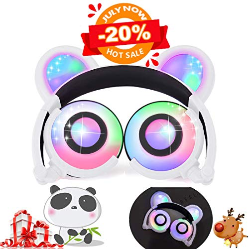 Kids Bear Ear Panda Headphones with LED Backlight USB Rechargeable Wired On/Over Ear Game Headsets 85dB Volume Limited 3.5mm Jack Earphone for iOS Android Girls Boys Toddlers School Gifts[Super Sale] (Best Way To Share Videos Privately)