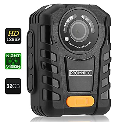 Police Body Camera for Law Enforcement: Wearable Video + Audio Body Worn Camera with Night Vision for Security Guards, Police Officers, and Personal Use [Records in Full HD + Waterproof] from Promnico