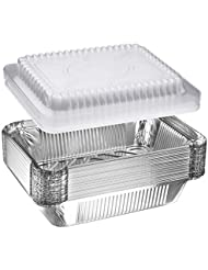 """NYHI 30-Pack Heavy Duty Disposable Aluminum Oblong Foil Pans with Plastic Covers Recyclable Tin Food Storage Tray Extra-Sturdy Containers for Cooking, Baking, Meal Prep, Takeout - 8.4"""" x 5.9"""" - 2.25lb"""