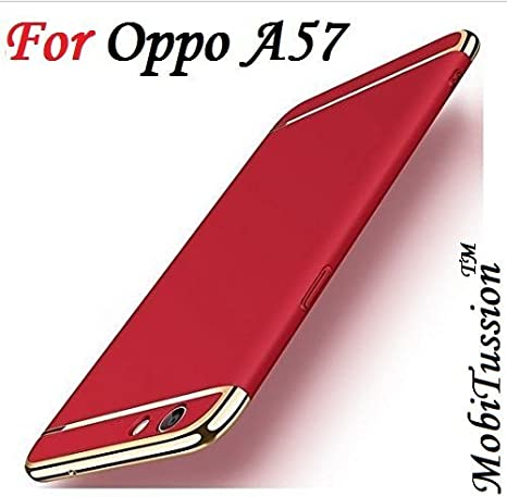 size 40 39755 f312e MOBITUSSION Oppo A57 Cover Rose with Gold [MobiTussion] Eventual Series  Luxury 3in1 Back Cover case for Oppo A57 Back Cover case (Red)