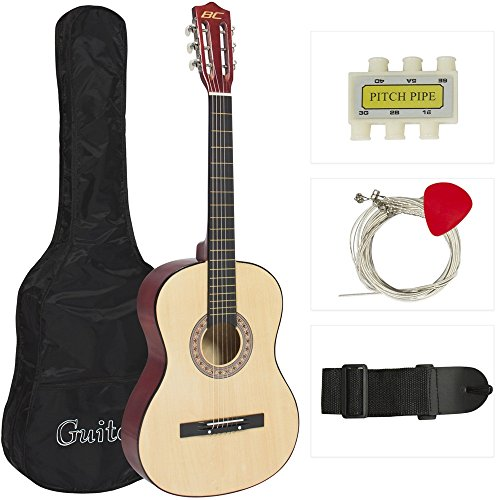 Beginners Acoustic Guitar With Guitar Case, Strap, Tuner and Pick Natural