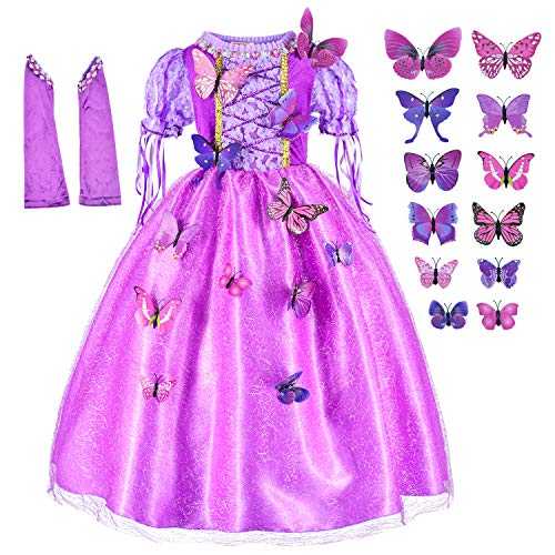 Long Hair Rapunzel Princess Costume For Girls Birthday Party Dress Up With Arm Sleeves Set Age of 8-9 Years(140cm) -