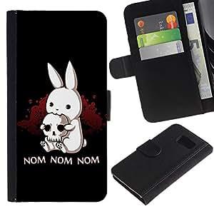 Billetera de Cuero Caso Titular de la tarjeta Carcasa Funda para Samsung Galaxy S6 SM-G920 / Rabbit Horror Skull Pirate Art Quote Nom Nom / STRONG