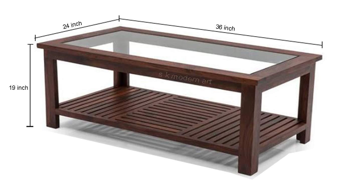 S K Modern Art Wooden Centre Table Teak Wood 24 X 36 X 19 Inch Design 999 Amazon In Home Kitchen
