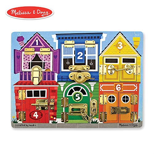 Melissa & Doug Wooden Latches Board (Developmental Toy, Sturdy Wooden Construction, Helps Develop Fine Motor Skills, 15.5