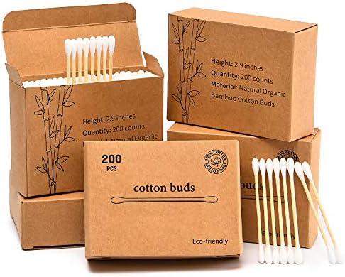 SUBEKYUSubekyu bastoncillos de algodón negro y blanco de 400 ct ...