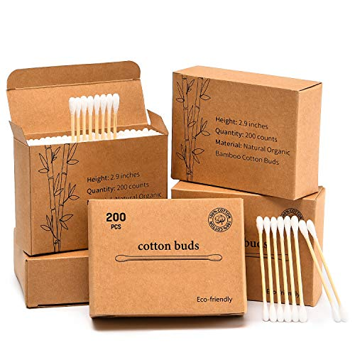 1000 Count Bamboo Organic Cotton Swabs, Eco-Friendly Round Double-headed Cotton Buds Wooden Sticks for Makeup/Ear Cleaning, White, 3 inches